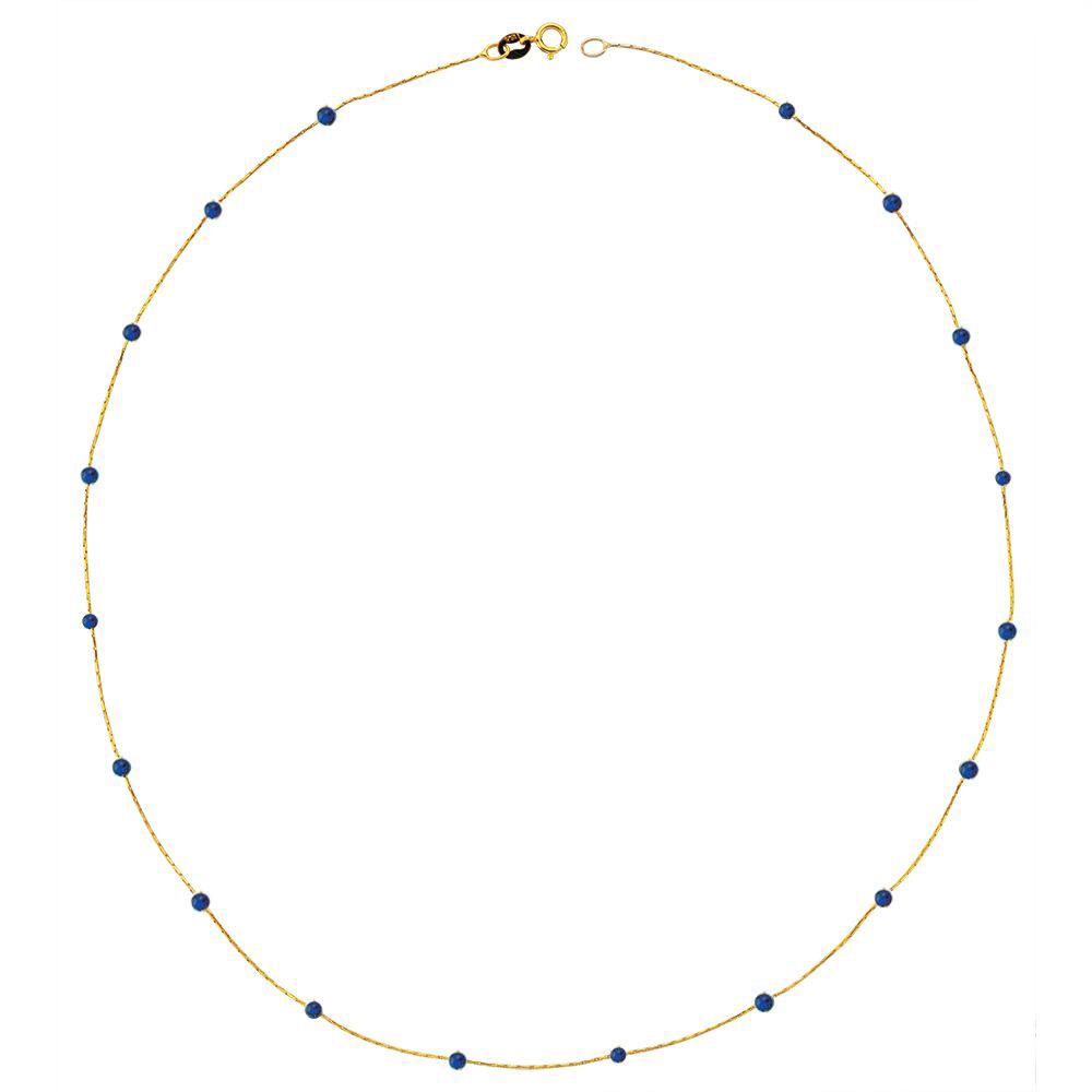Glorria Gold Lapis Pave Row Necklace