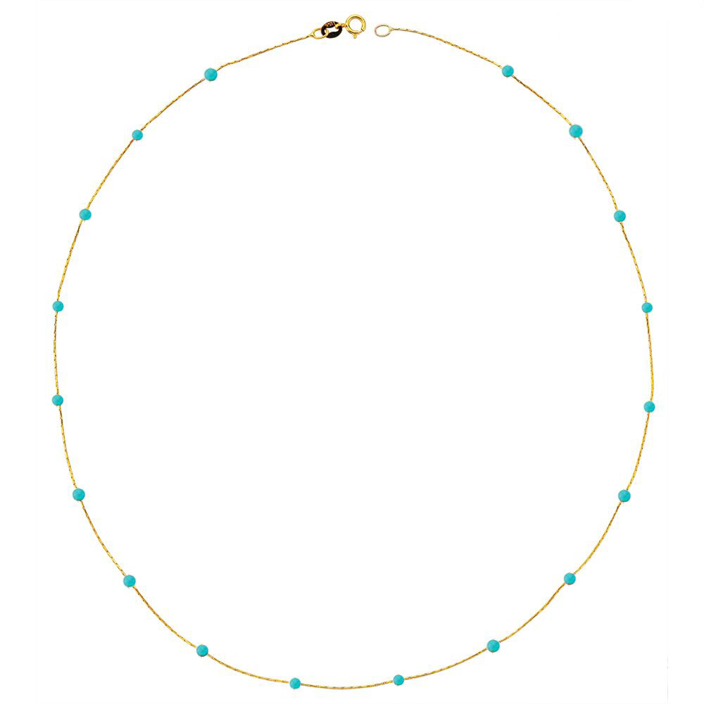 Glorria Gold Turquoise Pave Row Necklace