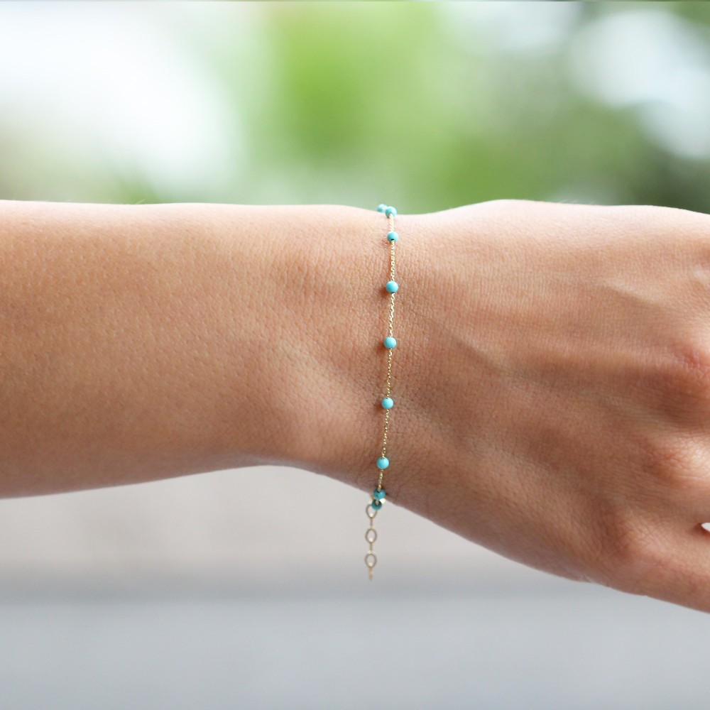 Glorria Gold Turquoise Pave Bracelet