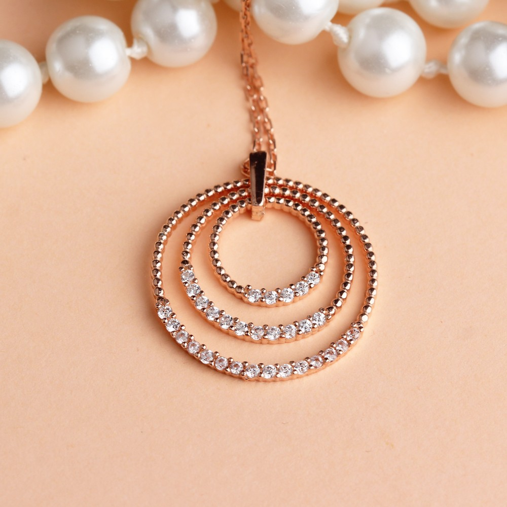 Glorria Silver Pave Circle Necklace